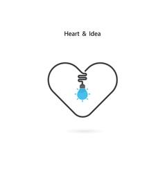 Heart sign and Light bulb idea vector image