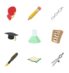 High school icons set cartoon style vector image