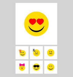 Icon flat emoji set of kiss heart-shaped eyes vector