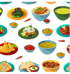 Indian national foods seamless pattern vector