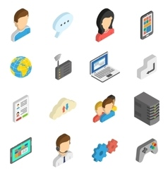 Internet Isometric Icon Set vector image