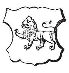lion passant have passing or walking lino vintage vector image