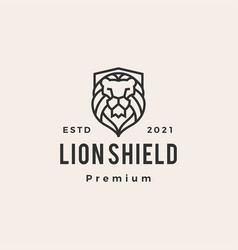 lion shield hipster vintage logo icon vector image