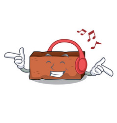 listening music brick mascot cartoon style vector image