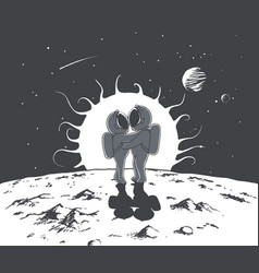 love and astronauts vector image