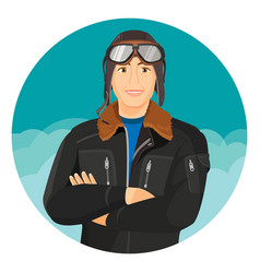 Male pilot in jacket and leather aviator hat vector