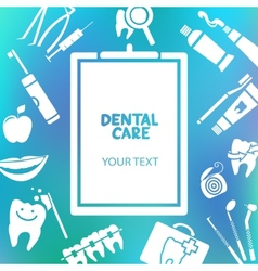 Medical clipboard with dental care text vector image