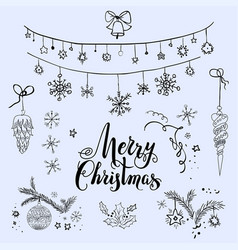 merry christmas sketch set vector image