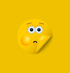 modern yellow face sticker creative vector image