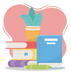 Online education pen and plant on books school vector