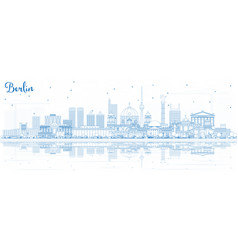 outline berlin germany city skyline with blue vector image