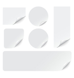 paper stickers with curled corners on white vector image