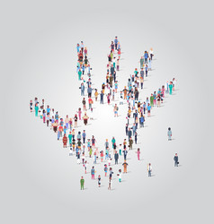 People crowd gathering in shape palm hand icon vector