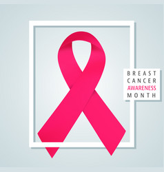 pink ribbon with frame vector image
