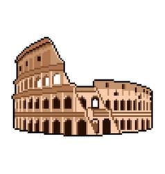 Pixel roman coliseum wonders world vector