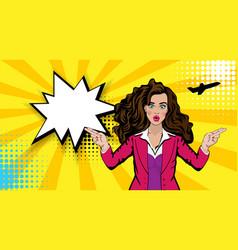 pop art cartoon comic sexy shocked stewardess vector image
