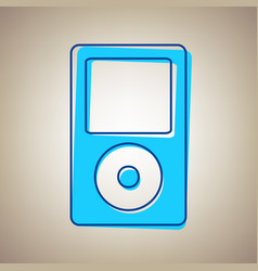 Portable music device sky blue icon with vector