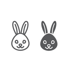 rabbit line and glyph icon animal and zoo vector image