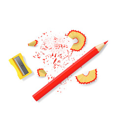 realistic 3d detailed sharpener and red pencil set vector image