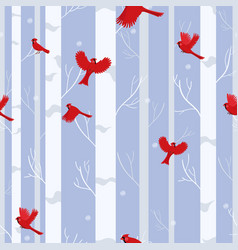red cardinal birds seamless pattern in winter vector image