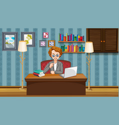 scene with man working on computer at home vector image
