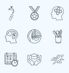 School icons line style set with hydrology vector