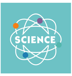 science atom icon blue background image vector image