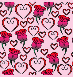 seamless pattern of hearts and roses vector image