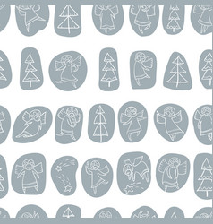 seamless pattern with doodle dancing angels and vector image