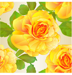 seamless texture rose yellow and leaves nature vector image