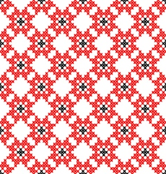 Seamless texture with red and black flowers vector image