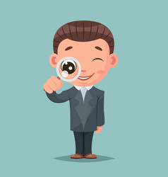 search magnifying glass cute businessman mascot vector image