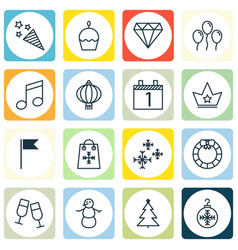 Set of 16 christmas icons includes decorated tree vector