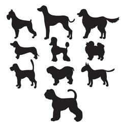 Set of black silhouettes cartoon dog breeds vector