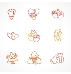 set of family logos vector image