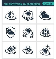 Set of modern icons Sun uv light vector