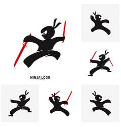 set of ninja warrior logo design template vector image