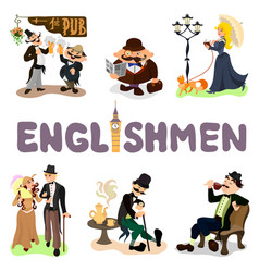 set of typical englishmen vector image