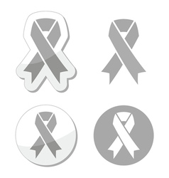 Silver ribbon - children with disabilities sign vector