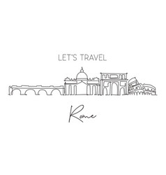 single continuous line drawing rome city vector image