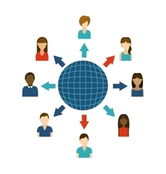Sphere and people design Global communication vector image