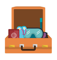 suitcase travel with elements vector image
