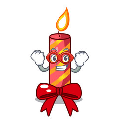super hero cartoon christmas candles on a table vector image