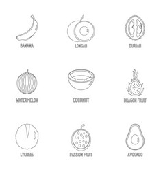 sweet fruit icons set outline style vector image
