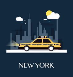 Taxi car with new york city vector