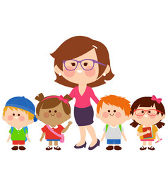 Teacher and group children students vector