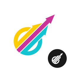 three color arrows up from the circle logo vector image