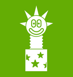 toy jumping out of box icon green vector image