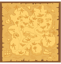 Treasure island map pirates isle adventure sea vector
