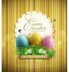 Vintage background with easter eggs vector